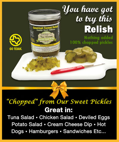 Tea-Licious Gourmet Sweet Relish is made from our Sweet Pickles.  You get 30% more volume per jar than if you chop your own so this is a real bargain.